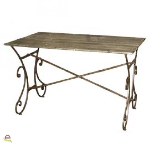 Holztisch Mit Metallfussen Im Landhausstil Gartentisch Tisch