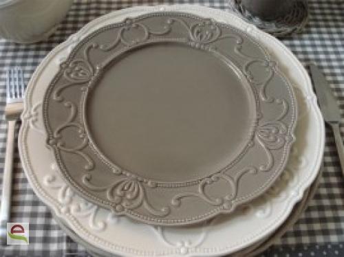 Geschirr Landhausstil speiseteller mit verzierung in grau elcodec decorate your
